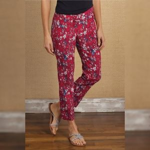Up! Cropped Red Floral Tummy Control Pants